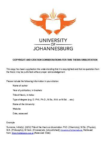 Thesis examples from university of south africa why should we not do homework